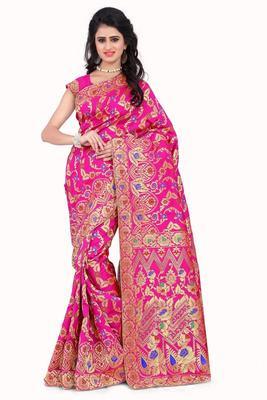 Pink printed banarasi silk saree with blouse