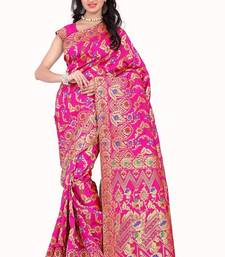Buy Pink printed banarasi silk saree with blouse karwa-chauth-saree online