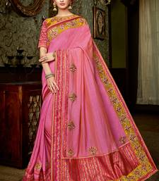 Buy Baby pink embroidered silk saree with blouse silk-saree online