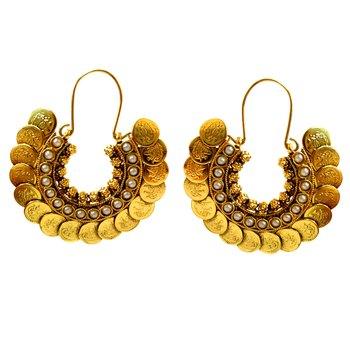 Pearl & Coin Hoop Earrings