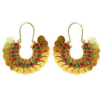 Green, Red Stone & Coin Hoop Earrings
