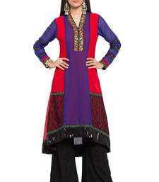 Buy Purple printed georgette stitched long-kurtis long-kurtis online