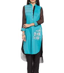 Buy Blue embroidered cotton stitched long-kurtis long-kurtis online