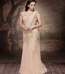 Buy Peach embroidered net saree with blouse gown-saree online