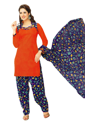 Red & Blue Cotton unstitched churidar kameez with dupatta