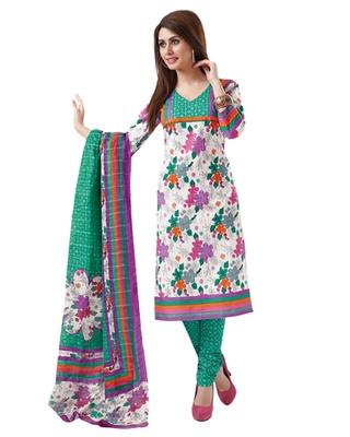 White & Green Cotton unstitched churidar kameez with dupatta