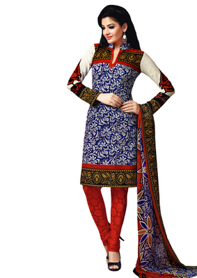 Blue & Red Art Crepe unstitched churidar kameez with dupatta