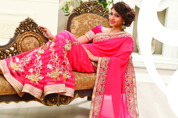 Peachish pink Georgette & Net combo Thread & stone worked saree -SR6032
