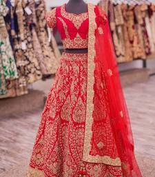 Buy Red embroidered art silk unstitched lehenga with dupatta lehenga online