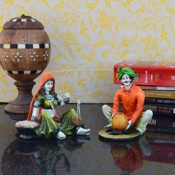 Combo of Rajasthani Craftmen and Lady Statue