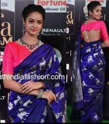 Buy Blue printed faux tussar silk saree with blouse tussar-silk-saree online