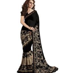 Buy Black printed silk saree with blouse below-500 online