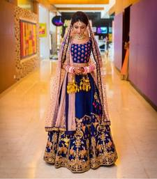 Buy Blue embroidered silk unstitched lehenga lehenga-choli online