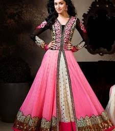 Buy Pink embroidered net semi stitched anarkali salwar kameez anarkali-salwar-kameez online