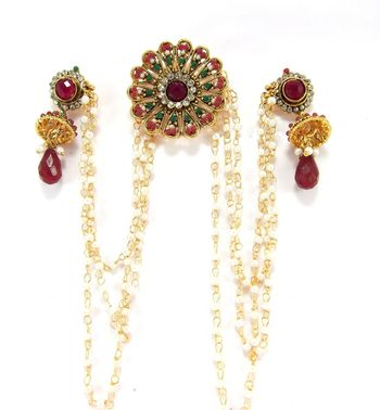 floral design ruby emerald cz gold plated bun pin earring