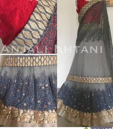 Buy Grey embroidered silk unstitched lehenga with dupatta lehenga online