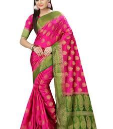 Buy Pink printed nylon saree with blouse kanchipuram-silk-saree online