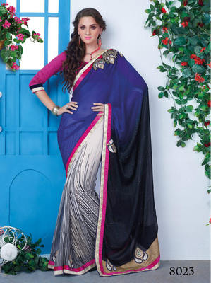 Multicolor Chiffon Patch Work Saree with blouse piece