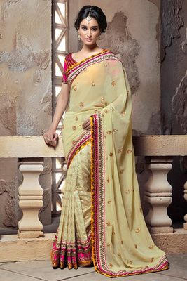 Beige and Pink Georgette Saree with Art Silk Blouse