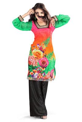 Multi Colour Cotton Satin Kurti showing Floral Print