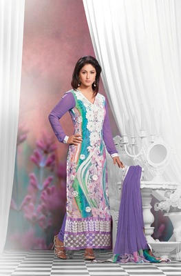 Purple  Embroidery Pure Georgette Semi Stitched Designer Straight Suit
