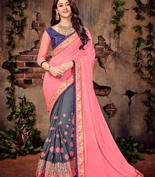 Buy Pink embroidered georgette saree with blouse diwali-sarees-collection online