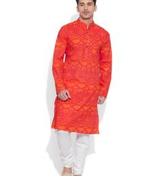 Buy tomato cotton printed stitched kurta kurta-pajama online