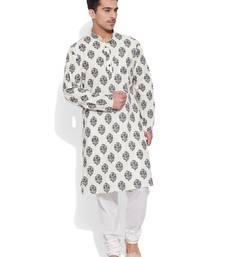 Buy cream cotton printed stitched kurta wedding-season-sale online