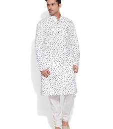 Buy ivory cotton printed stitched kurta kurta-pajama online