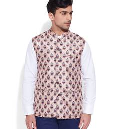 Buy cream printed stitched nehru jacket men-festive-wear online