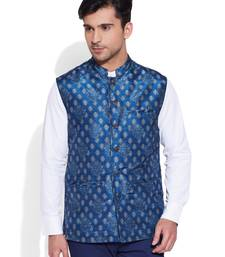 Buy blue printed stitched nehru jacket wedding-season-sale online