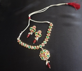 Emerald & Ruby Necklace set with Hanging Pendant Design 1