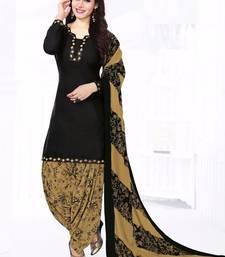 Buy BLACK printed cotton unstitched salwar with dupatta punjabi-suit online