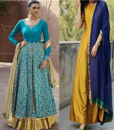 Buy multicolor embroidered taffeta semi stitched salwar with dupatta salwar-combo online