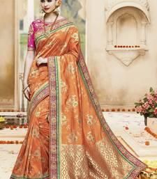 Buy Orange embroidered kanchipuram silk saree with blouse kanchipuram-silk-saree online