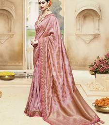 Buy Peach embroidered kanchipuram silk saree with blouse kanchipuram-silk-saree online
