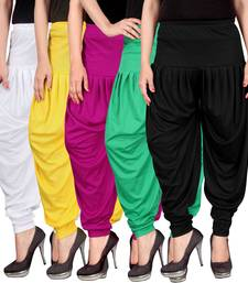 Buy White yellow pink green black stirped combo pack of 5 free size harem pants harem-pant online