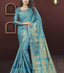 Buy Blue woven jacquard saree with blouse diwali-sarees-collection online