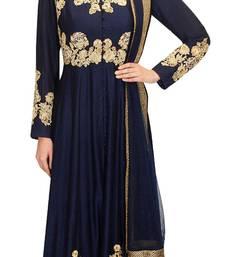 Buy Blue embroidered silk salwar with dupatta salwar-kameez online