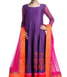 Buy Purple embroidered silk salwar with dupatta salwar-kameez online