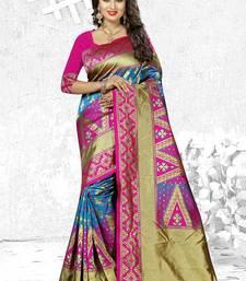 Buy Magenta woven banarasi silk saree with blouse diwali-sarees-collection online