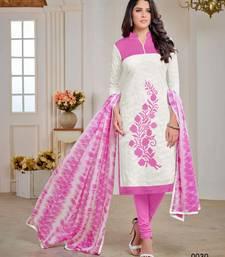 Buy White embroidered jacquard salwar with dupatta salwar-kameez online