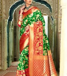 Buy Green woven banarasi silk saree with blouse kanchipuram-silk-saree online