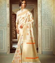 Buy Off white woven banarasi silk saree with blouse banarasi-silk-saree online