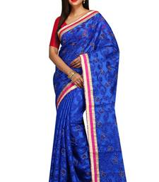 Buy blue embroidered chanderi saree with blouse designer-embroidered-saree online