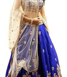 Buy blue art_silk embroidered lehenga with dupatta