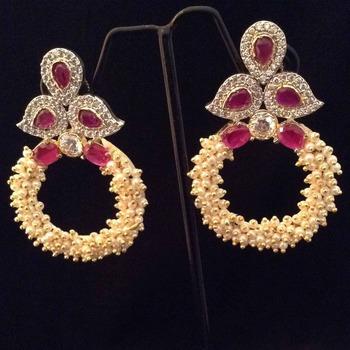 Designer rani pink chandni pearl bali hoop with AD work & stones India earring