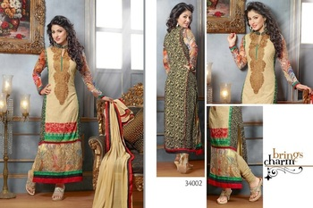Beige  Colour Embroidered Georgette  Semi Stitched Straight Cut suit