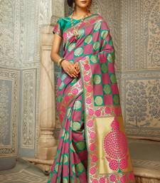 Buy Pink woven silk saree with blouse diwali-sarees-collection online
