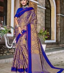 Buy Blue woven banarasi silk saree with blouse diwali-sarees-collection online